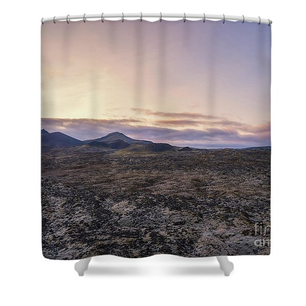 Lava Field Flyby  Shower Curtain