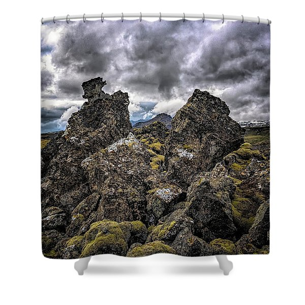 Shower Curtain featuring the photograph Lava Rock And Clouds by Tom Singleton