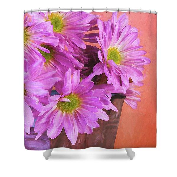 Lavender Daisies Shower Curtain