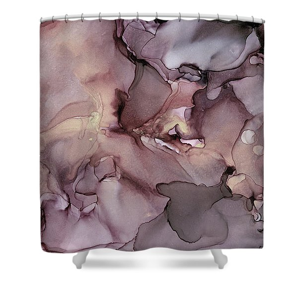 Lavender Gold Swirls Ink Abstract Painting Shower Curtain