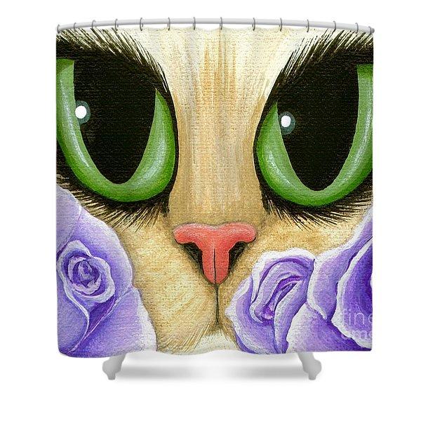 Lavender Roses Cat - Green Eyes Shower Curtain