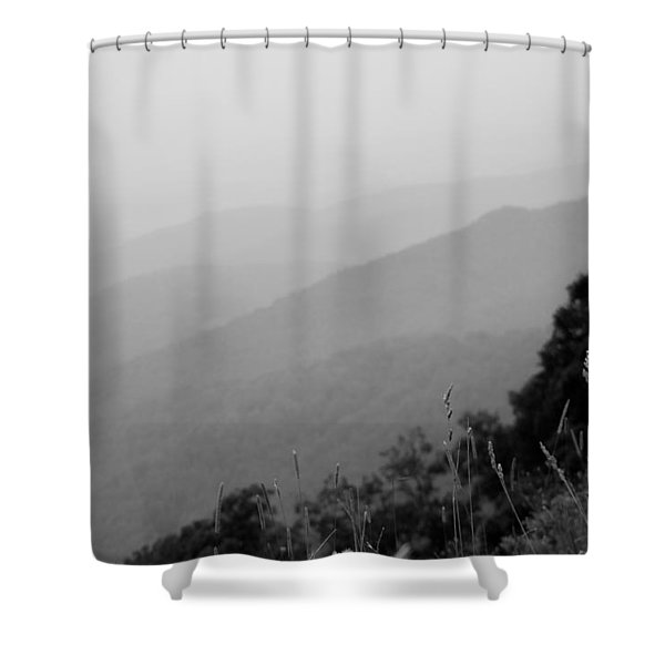 Layers Of The Blue Ridge Mountains In Black And White Shower Curtain