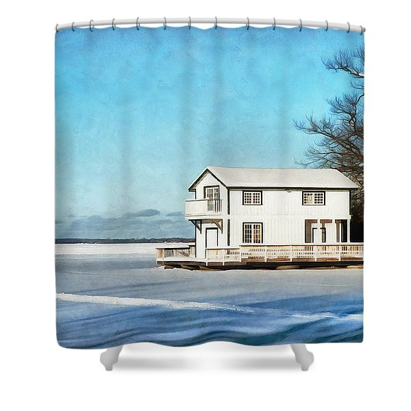 Leacock Boathouse In Winter Shower Curtain