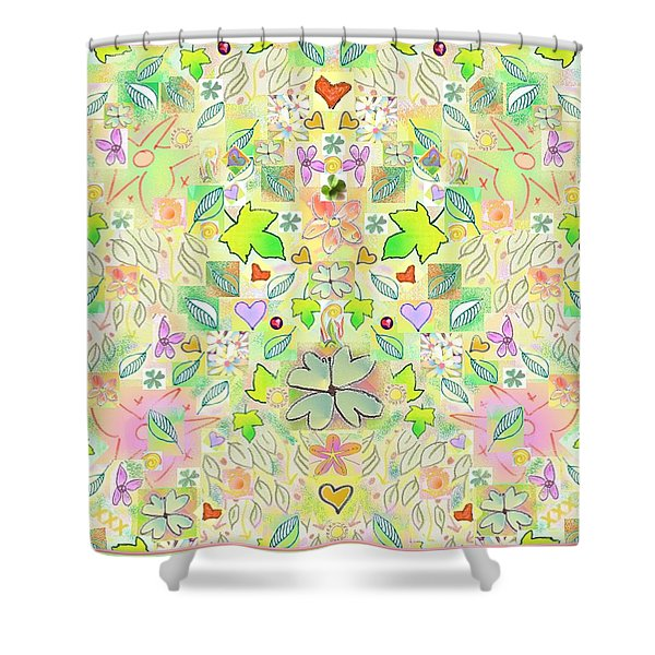 Leaf And Flower And Heart Pattern  Shower Curtain