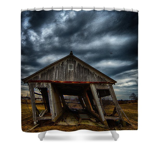 Leaning Building Under A Stormy Sky Shower Curtain