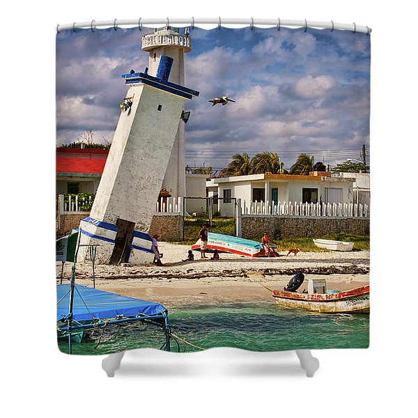 Leaning Lighthouse Shower Curtain