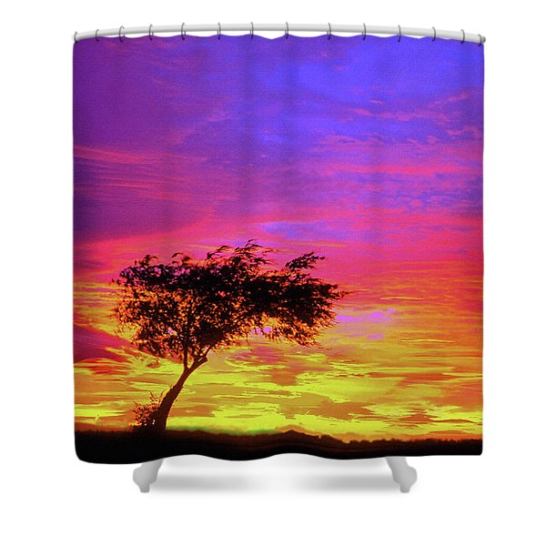 Leaning Tree At Sunset Shower Curtain