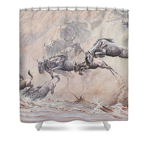 Shower Curtain featuring the painting Leap Of Faith by Alan M Hunt