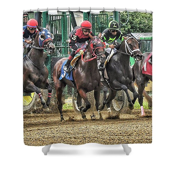 Leaping Forward Shower Curtain