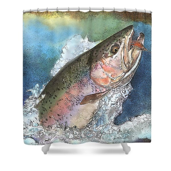 Leaping Rainbow Trout Shower Curtain