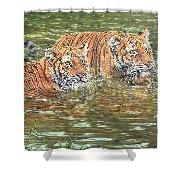 Shower Curtain featuring the painting Leave This To Me Sis by Alan M Hunt