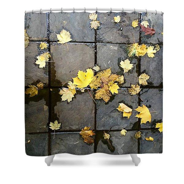 Leaves On Slate Shower Curtain