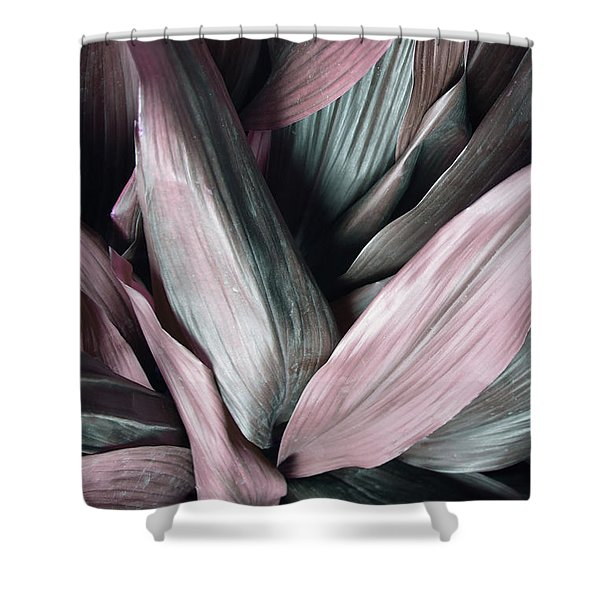 Leaves In Pink And Blue Shades Shower Curtain