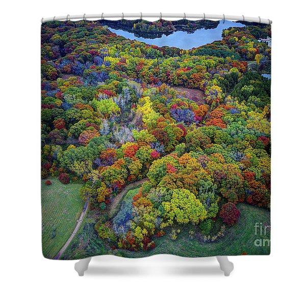 Lebanon Hills Park Eagan Mn Autumn II By Drone Shower Curtain