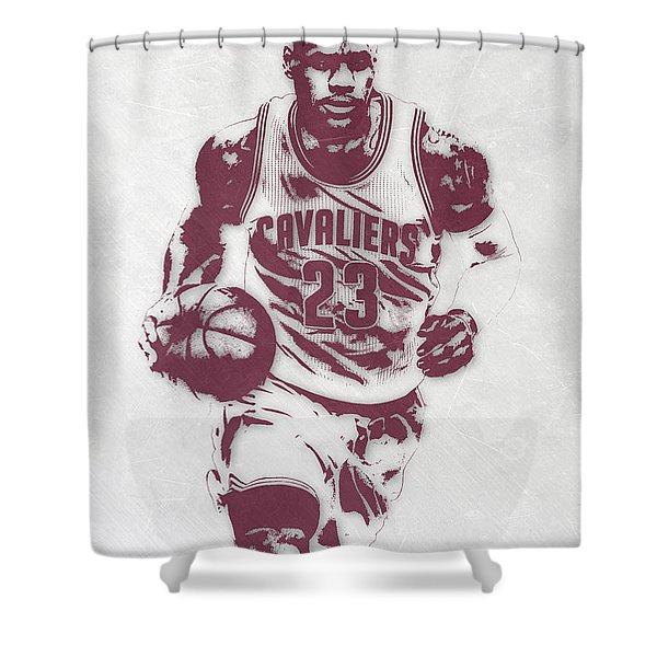 Lebron James Cleveland Cavaliers Pixel Art 4 Shower Curtain