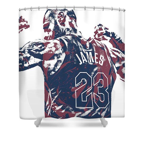 Lebron James Cleveland Cavaliers Pixel Art 53 Shower Curtain