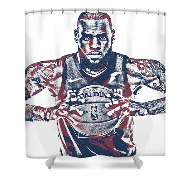 Lebron James Cleveland Cavaliers Pixel Art 54 Shower Curtain