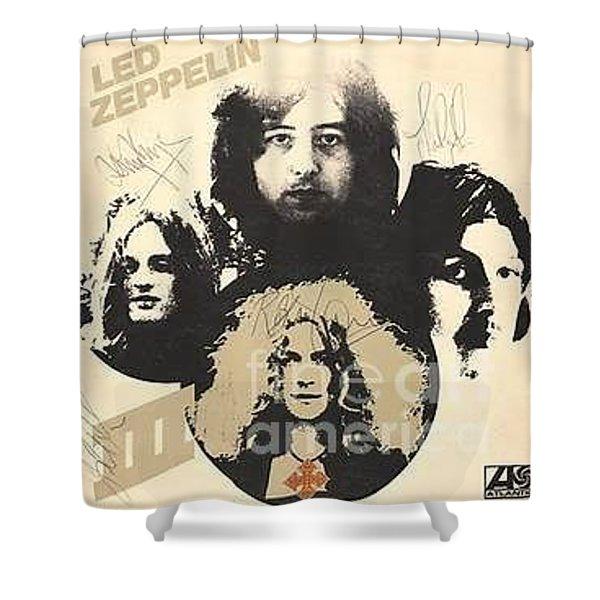 Led Zeppelin Autographed Album  Shower Curtain