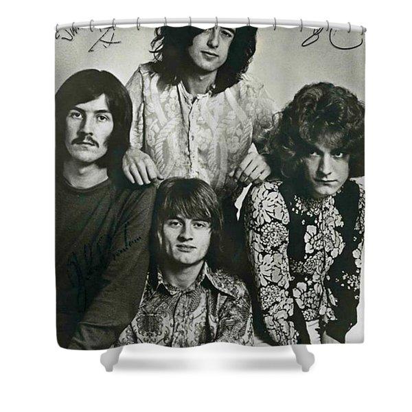 Led Zeppelin Band Autographs Shower Curtain