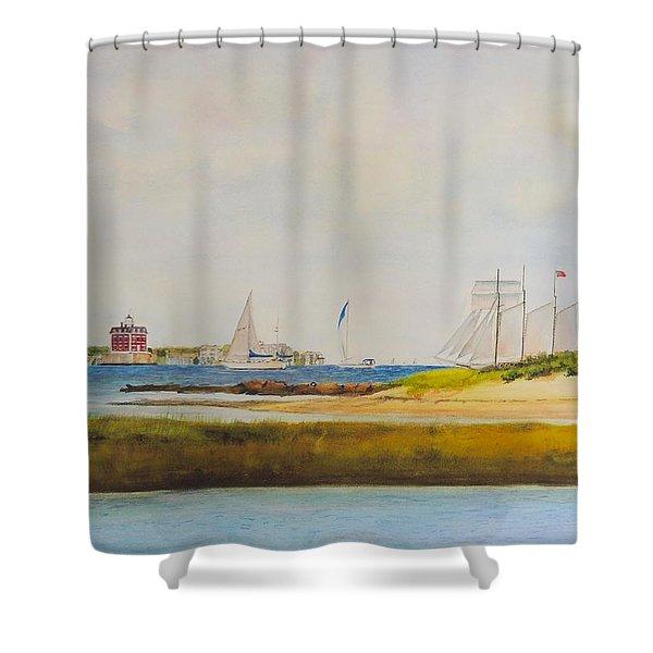 Ledge Light Lighthouse New London Waterford Beach Ct Shower Curtain