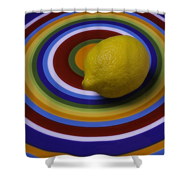 Lemmon On Circle Plate Shower Curtain
