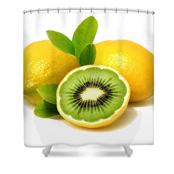 Shower Curtain featuring the digital art Lemon Kiwi by ISAW Company