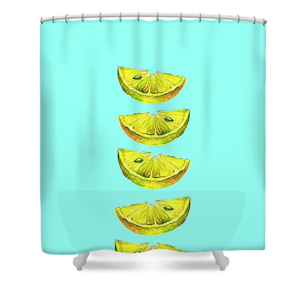 Lemon Slices Turquoise Shower Curtain