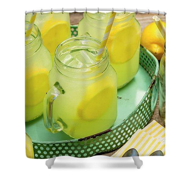 Lemonade In Blue Tray Shower Curtain