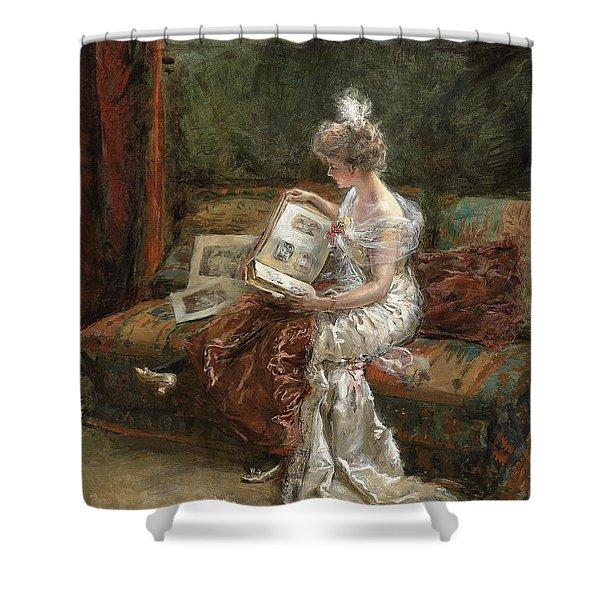 Leonie Garrido Looking At An Album Of Prints Shower Curtain