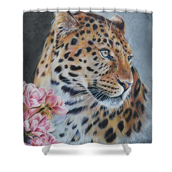 Leopard And Roses Shower Curtain