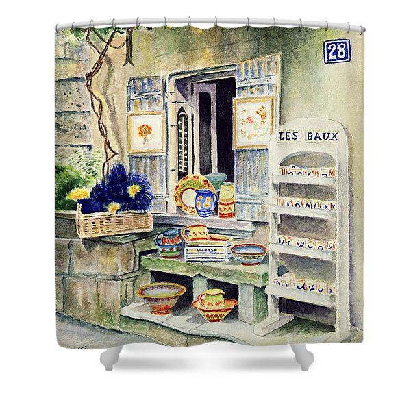 Shower Curtain featuring the painting Les Baux by Karen Fleschler
