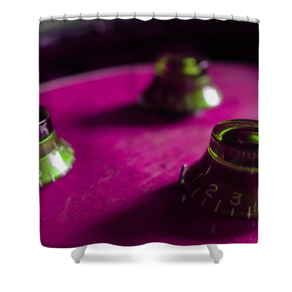 Guitar Controls Series Pink And Green Shower Curtain