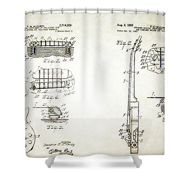 Les Paul Guitar Patent 1955 Shower Curtain