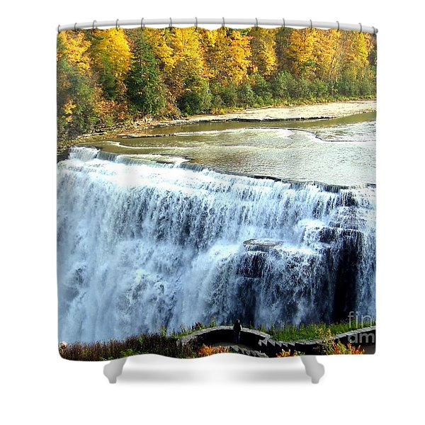 Letchworth State Park Middle Falls Autumn Shower Curtain
