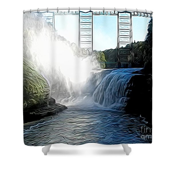 Letchworth State Park Upper Falls And Railroad Trestle Abstract Shower Curtain