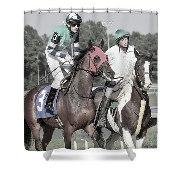 Let's Get'um To The Gate Shower Curtain