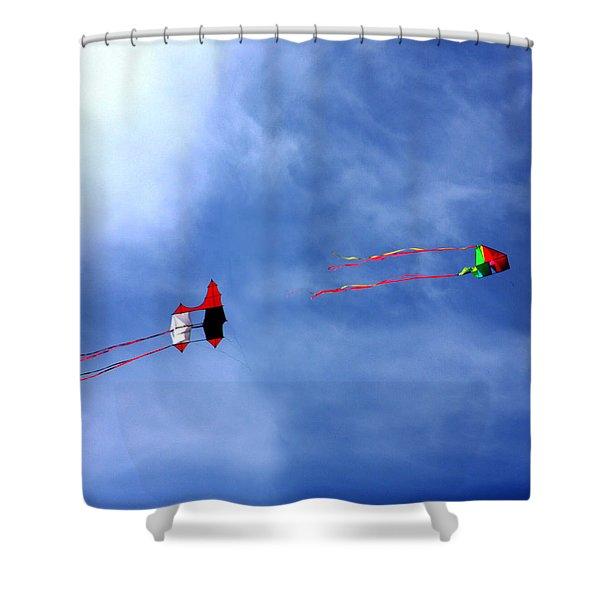 Let's Go Fly 2 Kites Shower Curtain