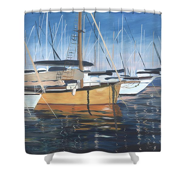 Shower Curtain featuring the painting Let's Go by Jane Croteau