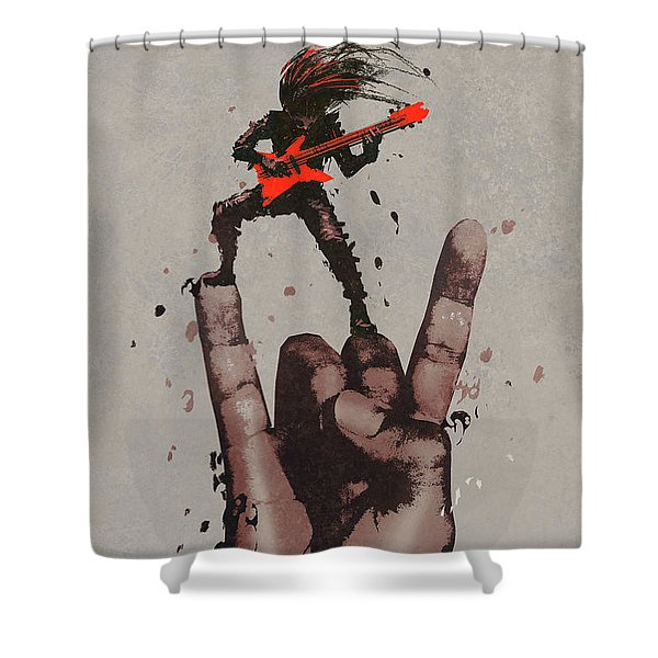 Shower Curtain featuring the painting Let's Rock by Tithi Luadthong