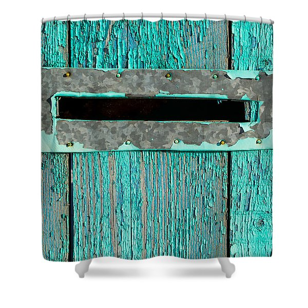Letter Box On Blue Wood Shower Curtain