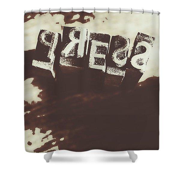 Letter Press Typeset  Shower Curtain