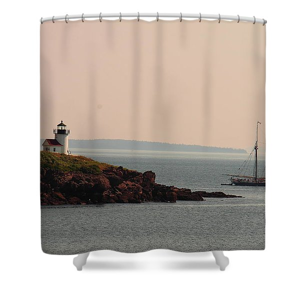 Lewis R French At The Curtis Island Lighthouse Shower Curtain