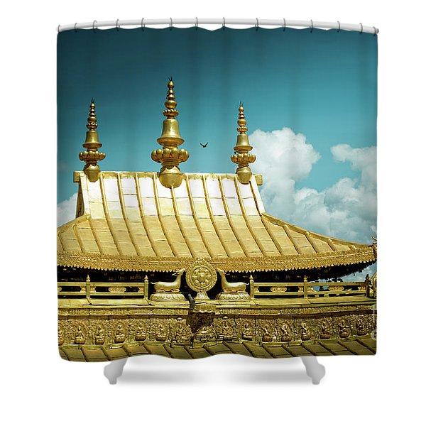 Lhasa Jokhang Temple Fragment Tibet Artmif.lv Shower Curtain