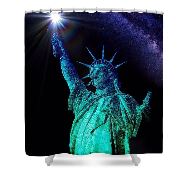 Shower Curtain featuring the painting Liberty Sky by Mark Taylor