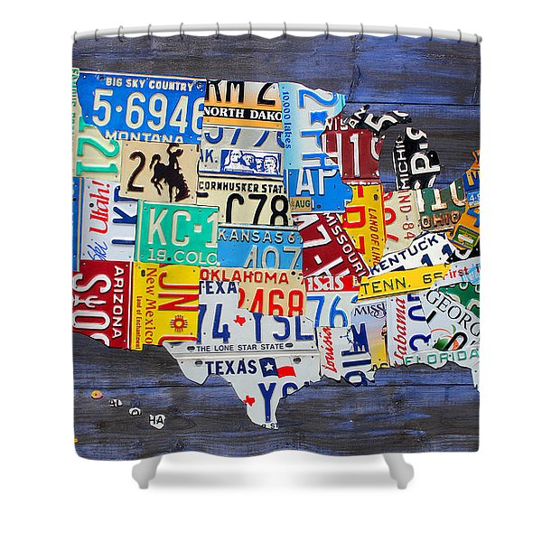 License Plate Map Of The Usa On Blue Wood Boards Shower Curtain