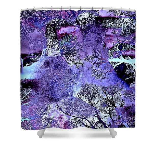 Shower Curtain featuring the digital art Life In The Ultra Violet Bush Of Ghosts  by Silva Wischeropp