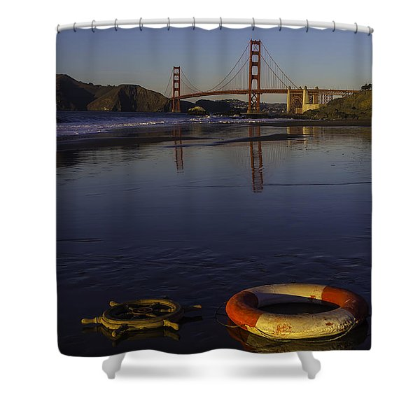 Life Ring And Ships Wheel Shower Curtain
