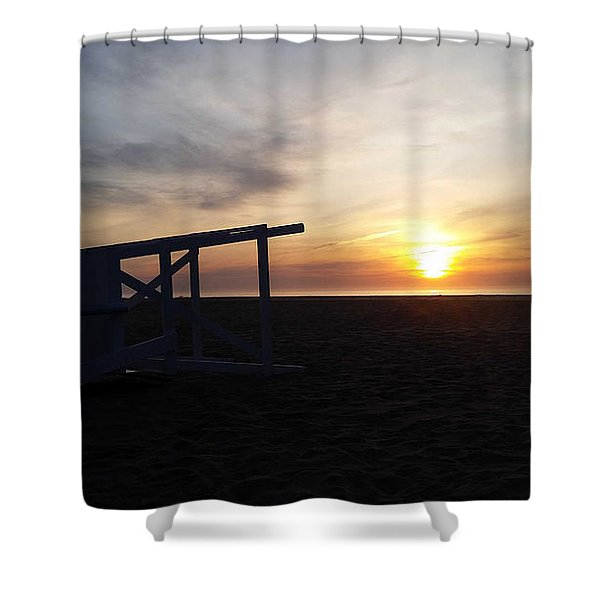 Lifeguard Stand And Sunrise Shower Curtain