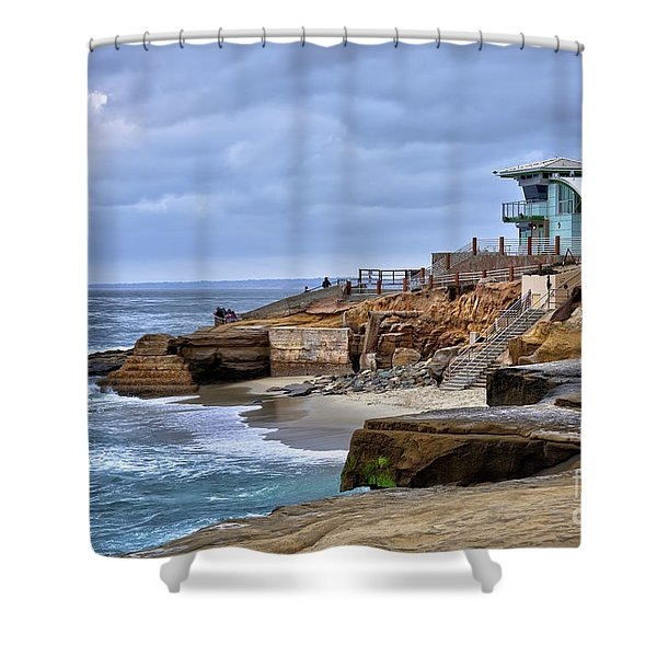 Lifeguard Station At Children's Pool Shower Curtain