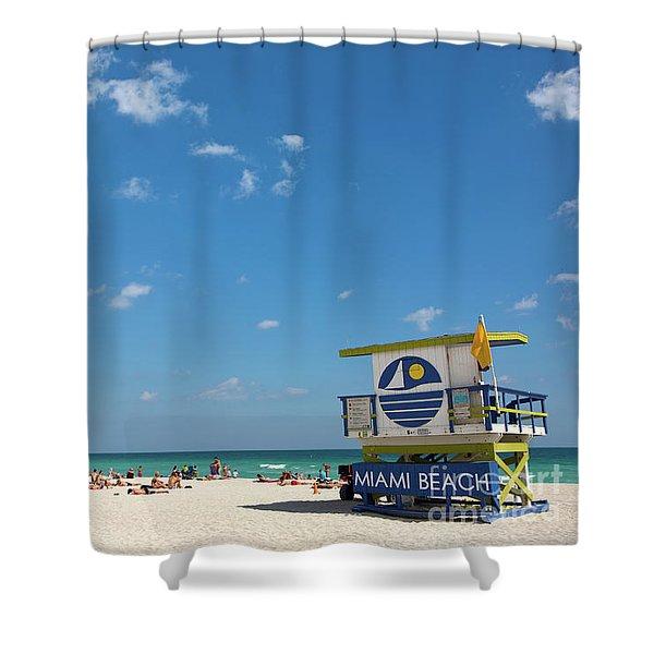 Lifeguard Station Miami Beach Florida Shower Curtain